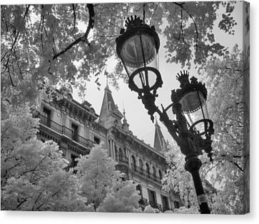 Infrared Street Light Black And White Barcelona Spain Canvas Print by Jane Linders