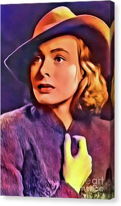 Ingrid Bergman, Vintage Actress. Digital Art By Mb Canvas Print