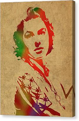 Ingrid Bergman Watercolor Portrait Canvas Print