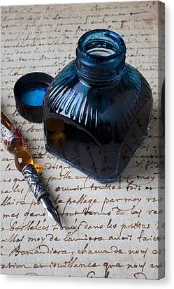 Ink Bottle On Document  Canvas Print