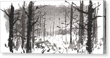 Canvas Print featuring the painting Ink Landscape 1 by Sean Seal
