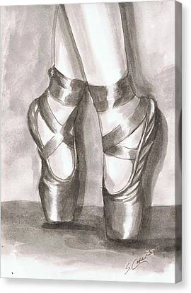 Ink Wash En Pointe Canvas Print by Sarah Farren