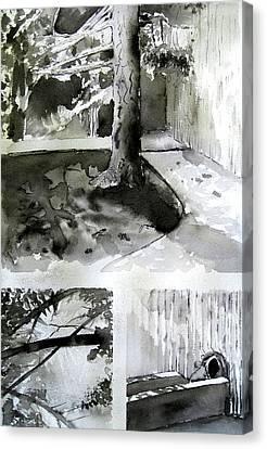 Ink Wash Under A Tree Canvas Print