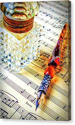 Glass Bottle Canvas Print - Ink Well On Sheet Music by Garry Gay