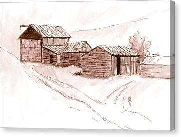 Barn Pen And Ink Canvas Print - Inktober 2017 No 8 by David King