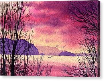 Canvas Print featuring the painting Inland Sea Islands by James Williamson