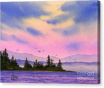 Canvas Print featuring the painting Inland Sea Sunset by James Williamson