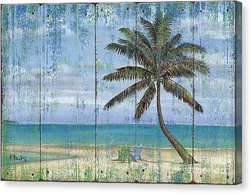 Inlet Palm - Distressed Canvas Print by Paul Brent