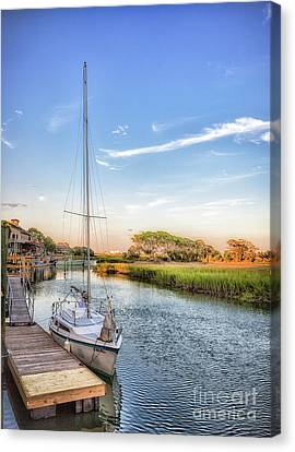 Inlet Scenes-sailboat Canvas Print