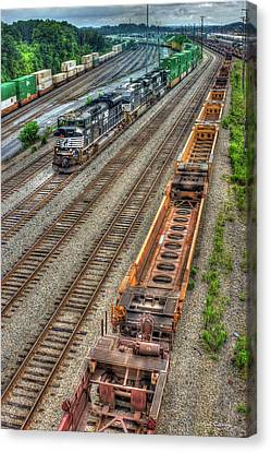 Canvas Print featuring the photograph Inman Intermodal Yard Atlanta Norfolk Southern Railway Locomotive 2665 Art by Reid Callaway