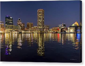 Inner Harbor Nightlights Canvas Print by Brian Wallace