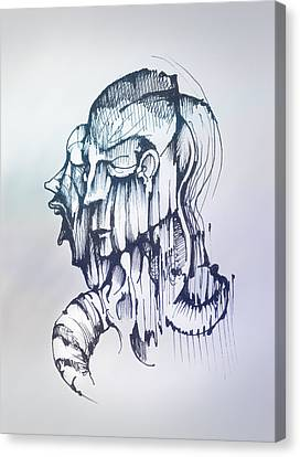 Canvas Print featuring the drawing Inner Voice by Keith A Link