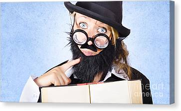 Inquisitive Scientist Holding Open Theory Book Canvas Print