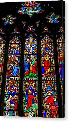 Inri Stained Glass Canvas Print by Adrian Evans