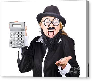 Insane Woman Shouting And Holding Calculator Canvas Print by Jorgo Photography - Wall Art Gallery