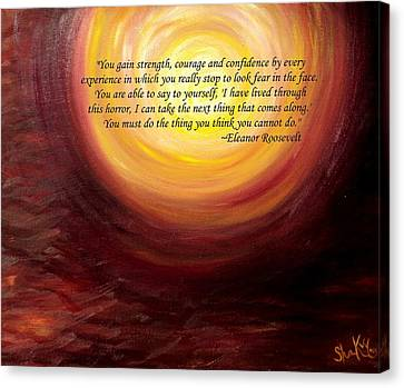'insatiable' Painting With Eleanor Roosevelt Quote Canvas Print by Shannon Keavy