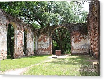 Civil War Site Canvas Print - Inside Church Ruins by Carol Groenen