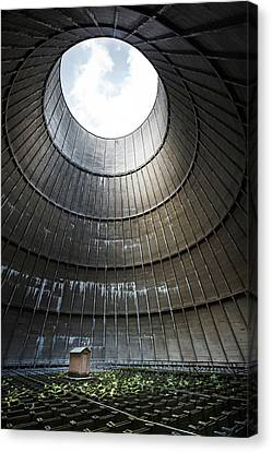 Canvas Print featuring the photograph Inside Industrial Cooling Tower Stands A Mysterous Little House by Dirk Ercken