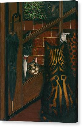 Inside Outside Cats Canvas Print by Carol Wilson