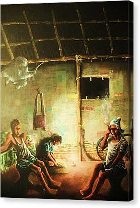 Inside Refugee Hut Canvas Print