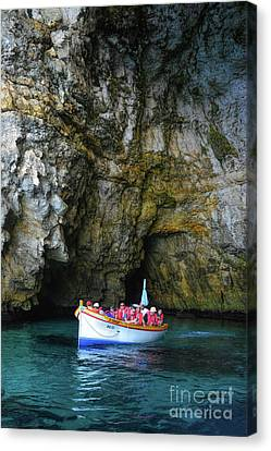 Inside The Cave Of The Blue Grotto Canvas Print by Stephan Grixti