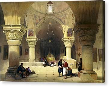 Jerusalem Canvas Print - Inside The Church Of The Holy Sepulchre In Jerusalem by Munir Alawi