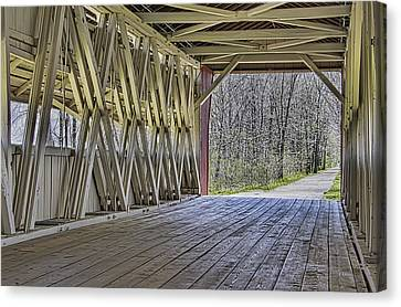 Inside The Covered Bridge Canvas Print by William Sturgell