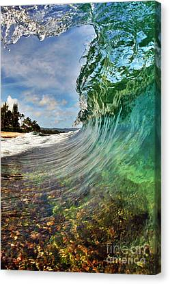 Blue Canvas Print - Inside The Curl by Paul Topp