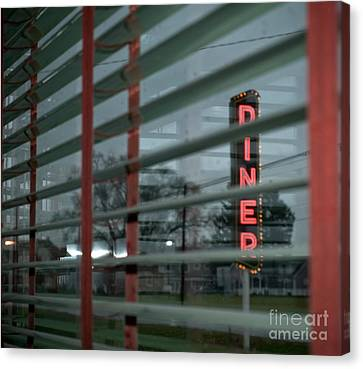 Inside The Diner Canvas Print by Kathy Jennings