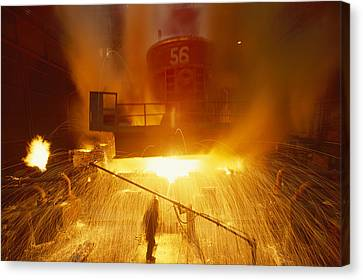 Inside The East-slovakian Steel Mill Canvas Print by James L Stanfield