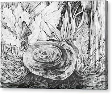 Canvas Print featuring the drawing Inside The Forest by Anna  Duyunova