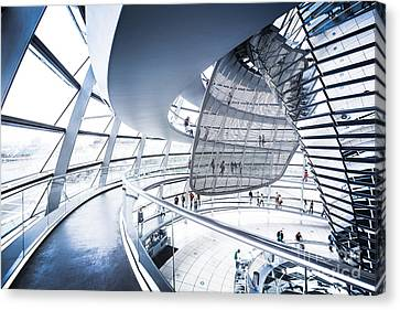 Wide Angled Glass Mirror Canvas Print - Inside The Reichstag Dome by JR Photography