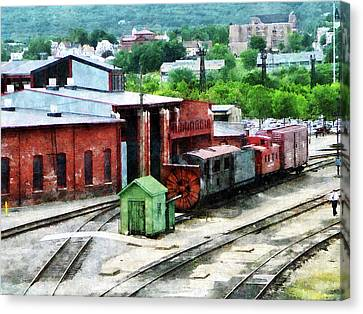 Tracks Canvas Print - Inside The Train Yard by Susan Savad