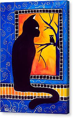 Insomnia - Cat And Owl Art By Dora Hathazi Mendes Canvas Print