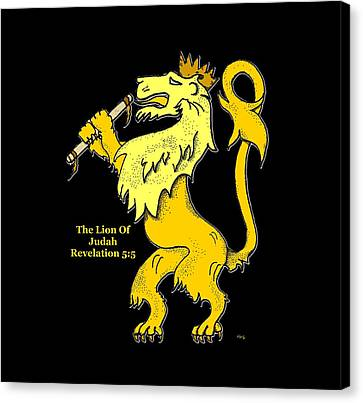 Canvas Print featuring the drawing Inspirational - The Lion Of Judah by Glenn McCarthy Art and Photography