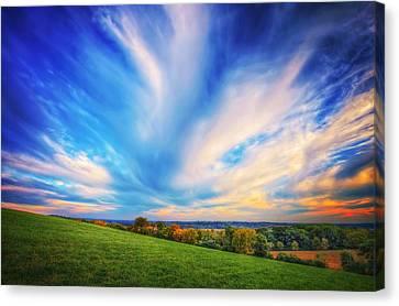 Intense Clouds - Fall Sunset - Retzer Nature Center - Waukesha Canvas Print by Jennifer Rondinelli Reilly - Fine Art Photography