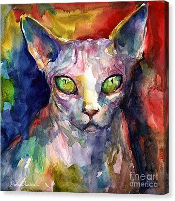 intense watercolor Sphinx cat painting Canvas Print by Svetlana Novikova
