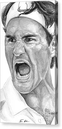 Australian Open Canvas Print - Intensity Federer by Tamir Barkan