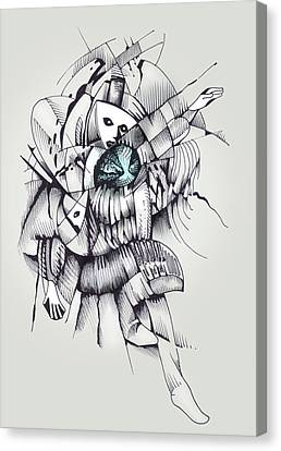 Canvas Print featuring the drawing Interallied by Keith A Link