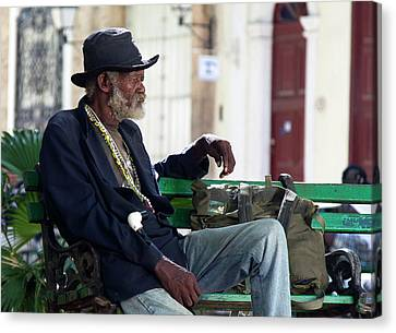 Interesting Cuban Gentleman In A Park On Obrapia Canvas Print by Charles Harden