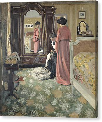Dressing Room Canvas Print - Interior by Felix Edouard Vallotton