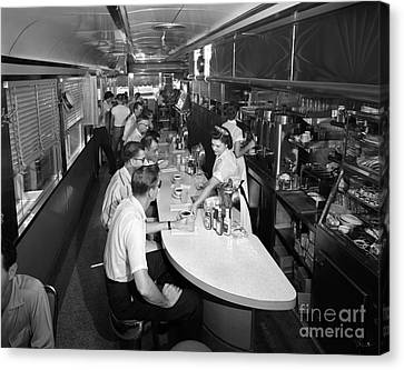 Interior Of A Busy Diner, C.1950-60s Canvas Print
