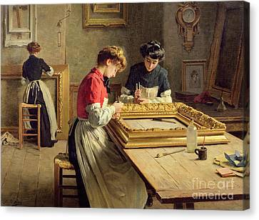 Interior Of A Frame Gilding Workshop Canvas Print by Louis Emile Adan
