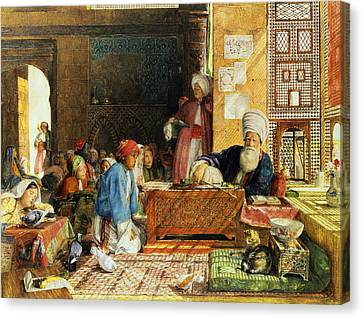 Interior Of A School - Cairo Canvas Print by John Frederick Lewis