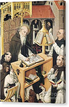 Interior Of A Scriptorium Canvas Print by Spanish School