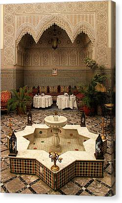 Interior Of A Traditional Riad In Fez Canvas Print