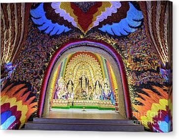 Interior Of Decorated Durga Puja Pandal, At Kolkata, West Bengal, India. Canvas Print by Rudra Narayan Mitra