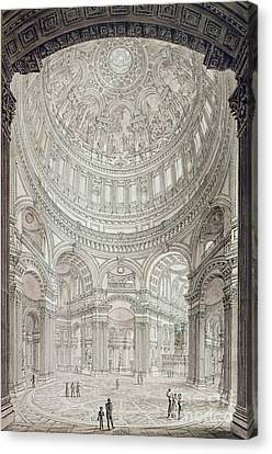 Interior Of Saint Pauls Cathedral Canvas Print by John Coney