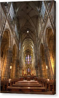 Interior Of Saint Vitus Cathedral Canvas Print by Gabor Pozsgai