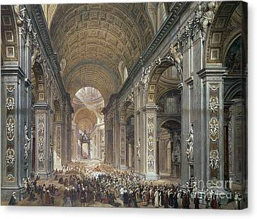 Interior Of St Peter's, Rome, 1867 Canvas Print by Louis Haghe